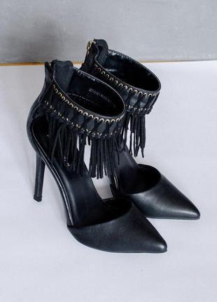 Черные туфли на всоком каблуке, туфли на шпильке, остроносые туфли босоножки черные2 фото