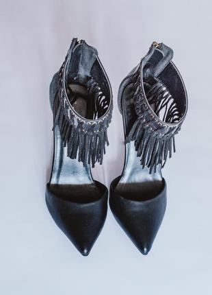 Черные туфли на всоком каблуке, туфли на шпильке, остроносые туфли босоножки черные4 фото