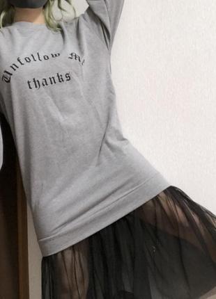 Sale трендовое платье свитшот с прозрачным шифоном bershka
