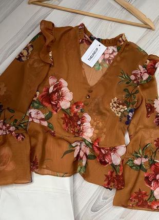 Красивая шифоновая блуза рукав клеш