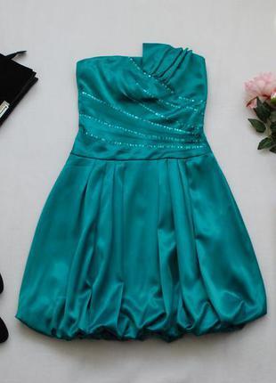 Мегаскидки, распродажа, большой выбор...красивое зеленое нарядное платье бюстье от quiz