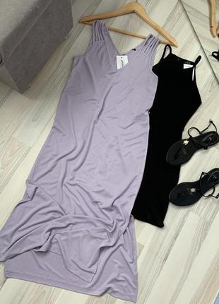 Сарафан платье миди свободный крой с разрезами
