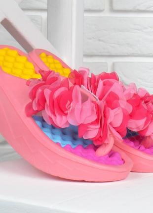 Шлепанцы женские на платформе розовые sakura массажная стелька