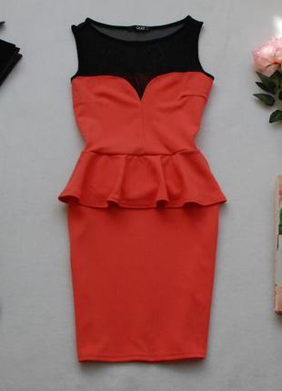 Мегаскидки, распродажа, большой выбор...кораллово-черное платье с баской и сеточкой