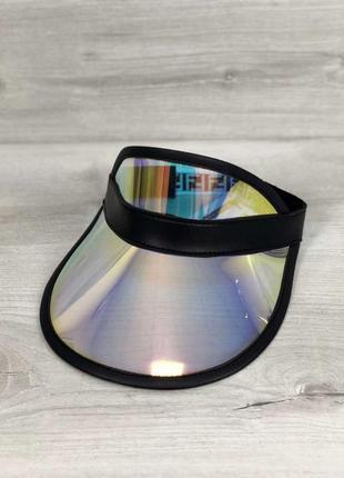 Черная голографическая летняя перламутровая кепка козырек радужная