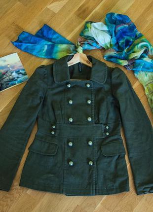 Темносмарагдове пальто topshop