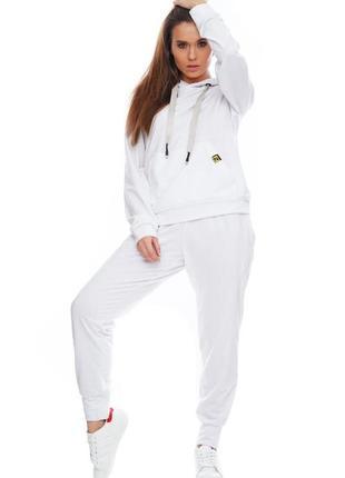 Женский спортивный костюм с капюшоном белый, s-xl