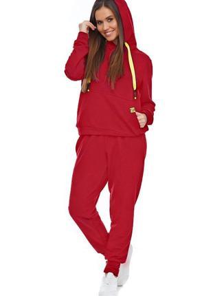 Женский спортивный костюм с капюшоном красный, s-xl