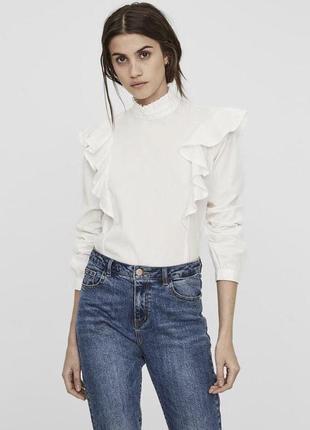 Рубашка белая хлопковая блуза vero moda