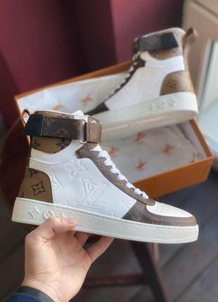 Высокие женские кроссовки louis vuitton sneakers brown white (36-40)😍