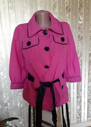 Пиджак плащ яркий малиновый ветровка куртка летняя на подкладе