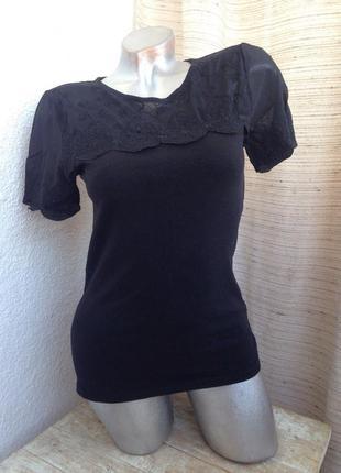 Черная футболка комбинированая сетка вышивка кружево стильная весна h&m