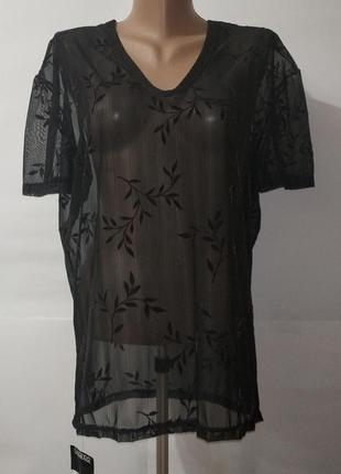 Футболка блуза новая черная с листочками uk 12/40/m