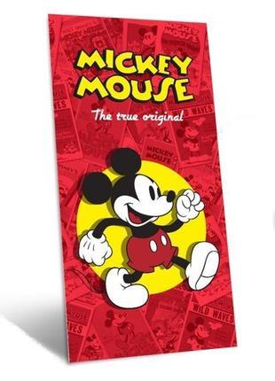 Детское пляжное полотенце disney микки маус, 100% хлопок 75х150 см