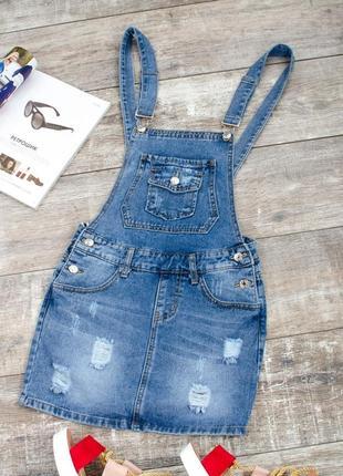 Стильный женский джинсовый комбинезон