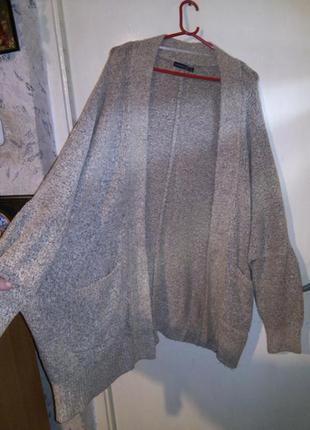 Тёплый,стрейч,меланж,свободный кардиган с карманами,большого размера,оверсайз