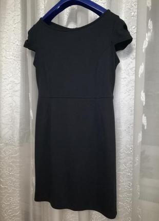 Изящное трикотажное деловое качественное платье темно-синего оттенка с красивыми рукавами