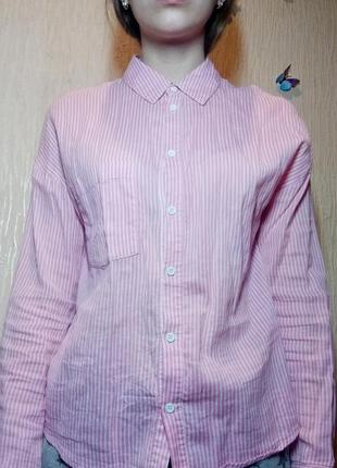 Рубашка в мелкую полоску. надпись на спине