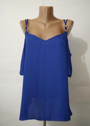 Блуза синяя нежная с открытыми плечами new look uk 16/44/xl
