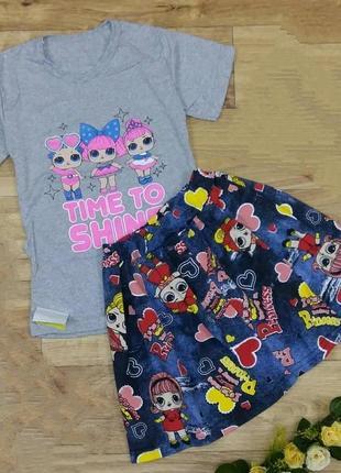 "Комплект для девочки ""лол"", футболка+юбочка"