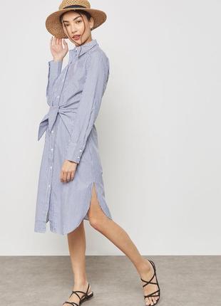 Mango платье рубашка миди в полоску xs