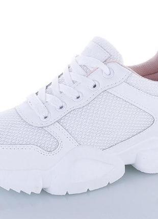 Белые летние женские кроссовки, лёгкая сеточка + эко-кожа, 36-41р