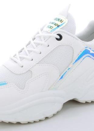 Летние белые женские кроссовки, сеточка + эко-кожа, 36-41р
