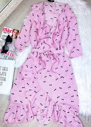 Брендовое нюдовое платье на запах миди от h&m c ультрамодным принтом