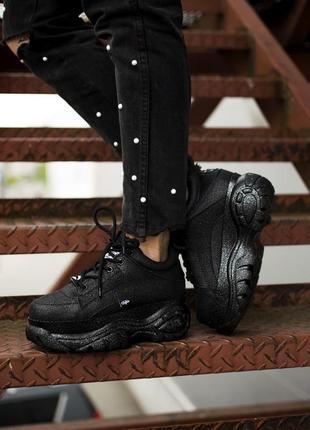 Женские буффало, кросовки чёрные высокие buffalo london black