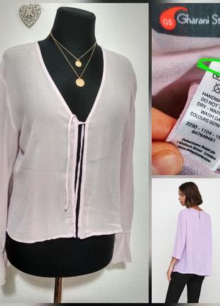 Натуральная фирменная лавандовая шелковая блузка накидка натуральный100% шёлк