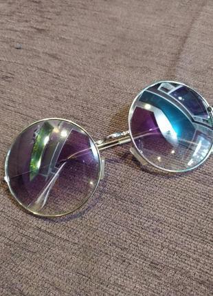 Солнцезащитные очки круглые очки в серебряной оправе