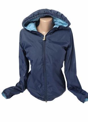 Двусторонняя куртка ветровка на молнии с капюшоном плащовка демисезонная