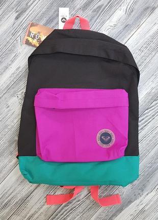 Женский рюкзак roxy черный с разноцветными вставками