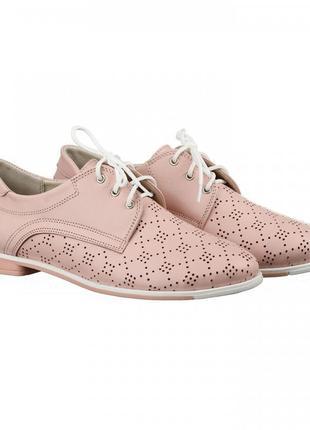 Кожаные женские розовые туфли на шнурках с перфорацией низкий каблук натуральная кожа