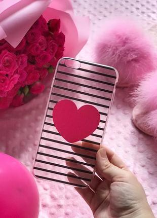 Чехол на айфон 6/6s plus плюс в полоску с сердцем