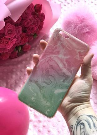 Чехол на айфон 6/6s plus плюс розовый голубой мрамор