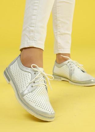 Кожаные женские белые туфли с перфорацией на шнурках натуральная кожа