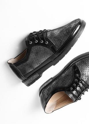 Кожаные женские серые туфли с перфорацией на шнурках натуральная кожа