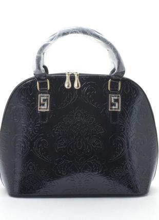 Лаковая сумка 8335 с узорами черная / есть белая и бежевая