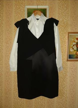 Брендовое черное платье от victoria victoria beckham р. 14
