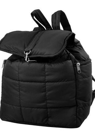 Рюкзак дутик женский деми мягкий легкий удобный черный тканевый  с карманами украина