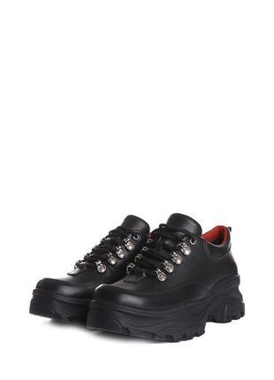 Скидка! стильные женские кожаные черные кроссовки на платформе натуральная кожа