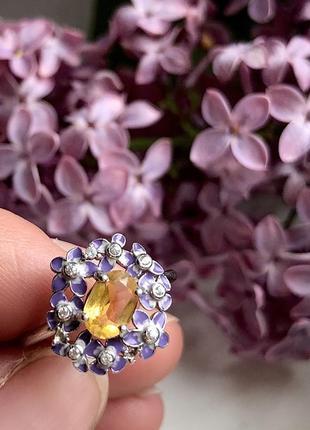 5% скидка подписчику!!!серебряное кольцо 925 пробы с натуральным цитрином и эмалью.
