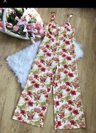 Трендовый комбинезон ромпер штанами в цветочный принт на лето m l