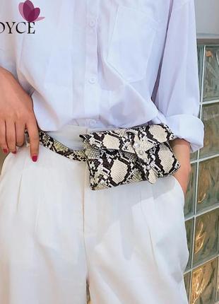 Поясная сумка сумочка на пояс бананка бежевая змеиный принт питон новая качество