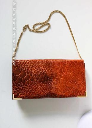Винтажная сумка, 100% натуральная кожа черепахи, оригинал, винтаж кожа рептилии