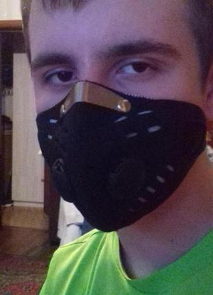 Защиьная вело маска с клапаном и фильтром3 фото