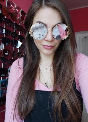 Сонцезахисні окуляри круглі з оздобою