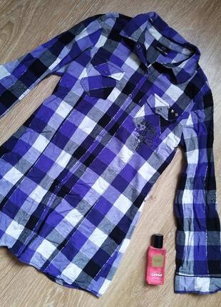 Хлопковая рубашка в клетку рост 158 см