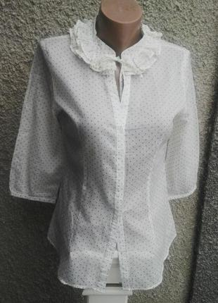 Легкая,воздушная,немного прозрачная блузка в горошек,рубаха с жабо,хлопок, saint tropez